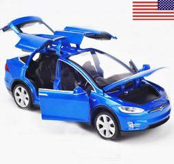 1:32 Scale Diecast Blue X90 Tesla Car Model Toy Gift W/ Ligh