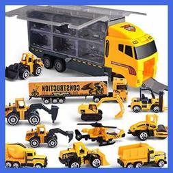JOYIN 11 in 1 Die-cast Construction Truck Vehicle Car Toy Se