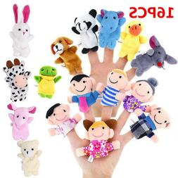 10/16pc Cartoon Finger Puppets Cloth Plush Doll Baby Educati