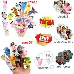 10/16pcs Animal Plush Finger Puppets Set Baby Dolls Educatio