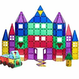 100 Piece Clear Color Magnetic Tile Deluxe Building Set Car
