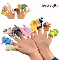 10PCS Fingertip Animal Toys Cloth Cartoon Dolls Puppets Deve