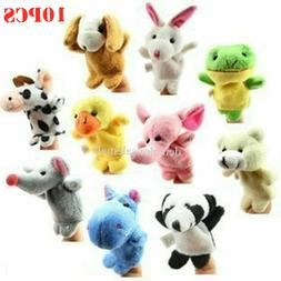 10PCS/set Cartoon Animal Finger Puppets Cloth Dolls Educatio