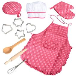 11 Pc Chef Dress Up Costume Clothes Little Girl Kids Kitchen