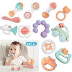 12PC Newborn Toddler Baby Shaking Bell Rattles Teether Kids