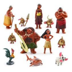 12pcs Set Moana Figures Figurine Cake Topper Maui Pua Heihei
