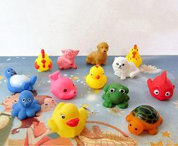 13Pcs Soft Rubber Float Sqeeze Sound Baby Wash Bath Play Ani