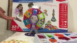 158-Piece Kids Clear Magnetic Building Block Tiles Toy Set -