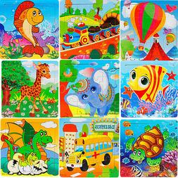 16 PCS Wooden Jigsaw Puzzles Toys with Animals For Kids Educ