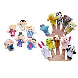 16PC Finger Puppets Animals People Family Members Educationa