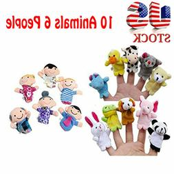 16X Story Finger Puppets 10 Animals 6 People Family Members