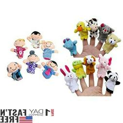 16PCS Finger Puppets 10 Animals 6 People Family Members Educ
