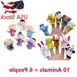 16PCS Finger Puppets Animals  People  Family Members Educati