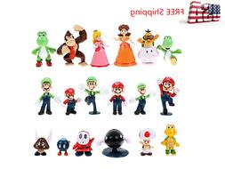 18 Pcs/Set Super Mario Brothers Bros Action Figures Toy- 2""