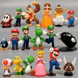 18pcs Super Mario Bros Action Figure Doll Figurine Toy Model
