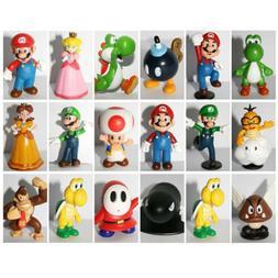 18pcs Super Mario Bros PVC Action Figure Doll Playset Figuri