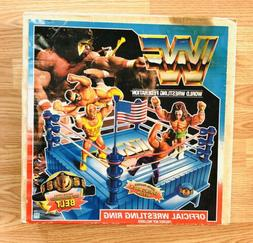 1991 WWF HASBRO Action Figure Wrestling Ring Set BLUE BOX Fa