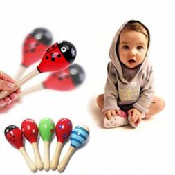 1PC Baby Kids Sound Music Gift Toddler Rattle Musical Wooden