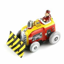 1x Vintage Bulldozer Tractor Model Tin Toy w/ Wind-up Key Co