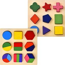 Skylety 2 Sets of Shapes Wooden Chunky Puzzle Kindergarten G
