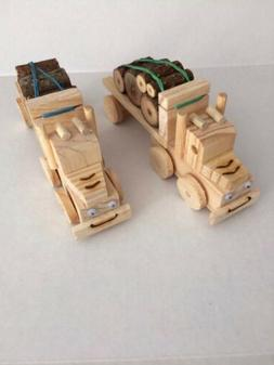 2 WOOD LOG TOY TRUCKS  Tractor Trailer Wooden Construction