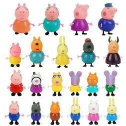 21Pcs Peppa Pig Cartoon Figures Toys Teacher Dog Rabbit Fami