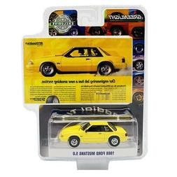 "GREENLIGHT 30062 1988 FORD MUSTANG 5.0 YELLOW ""VINTAGE AD CA"