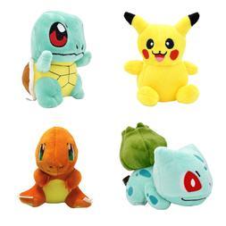 4PCS Set Plush Toys Pika, Bulbasaur Squirtle Charmander Soft