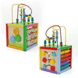 5 in 1 Wooden Bead Maze Activity Cube Multifunction Center K
