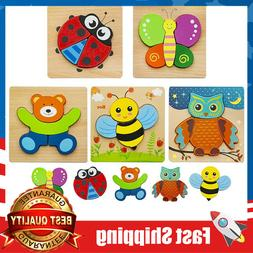 5 pcs Wooden Jigsaw Puzzles for Toddlers 1 2 3 Years Old, Ea
