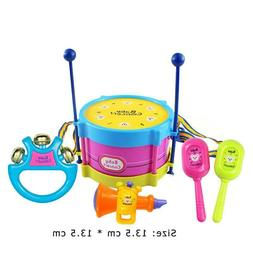 5PC Funny Kids Baby Roll Drum Musical Instruments Band Kit C