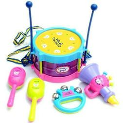 5Pcs Kids Baby Roll Drum Musical Instruments Band Kit Childr