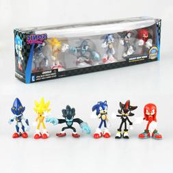 6 PCS Sega Sonic The Hedgehog Action Figure Collection PVC T