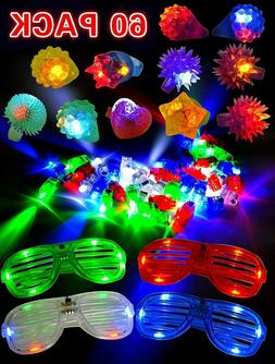 60 Pieces LED Light Up Toy Party Favor Pack - Finger Lights,