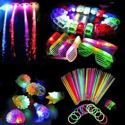 60PCS LED Party Favors Light Up Glow Toys Flashing Ring Glas