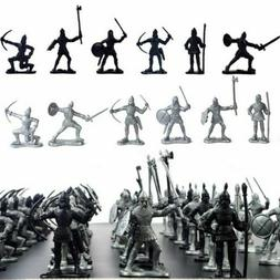 60Pcs Medieval Knights Warriors Soldiers Figure Model Toy Pl