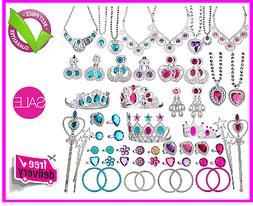 66 Pcs Princess Jewelry Dress Up Toys Pretend Play Set Girls