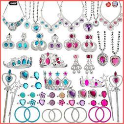 66Pcs Princess Girl Dress Up Pretend Play Jewelry Toy Set fo