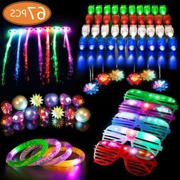 67 PCs LED Light Up Toys Party Favors Glow in the Dark Party
