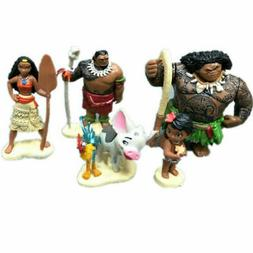 6Pcs Disney Moana Action Figures Doll Kids Figurines Cake To