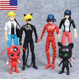 6Pcs Miraculous Ladybug Tikki Noir Cat Plagg Adrien Action F