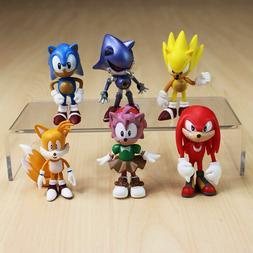6PCS Sonic The Hedgehog Action Figure Toy Set Collection Kid