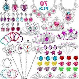 FittiDoll 70Pack Princess Pretend Jewelry Toy, Girl's Jewe