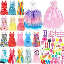 73PCS For Barbie Doll Clothes Party Gown Shoes Bag Necklace