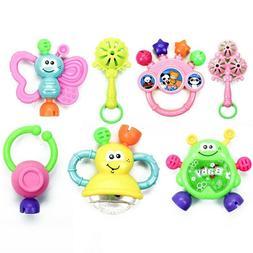 7Pcs Newborn Toddler Baby Shaking Bell Rattles Teether Toys