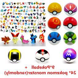 24Pcs Pokemon Go Pearl Action Figures + 9Pcs Poke Ball Pop-u