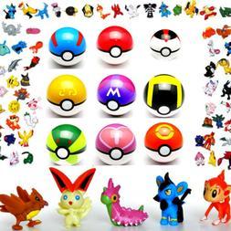 9pcs Pokemon Pop-up Ball & 24pcs Go Action Figures Pokeball