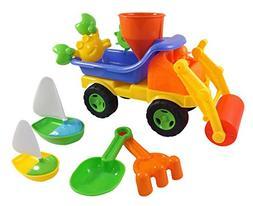 Beach Toys Sand Roller Dump Truck Set for Kids with Rake, Sh