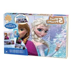 Frozen Disney 5 Wood Puzzles In Wooden Storage Box