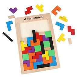 SainSmart Jr. Wooden Tetris Puzzle 40 Pcs Brain Teasers Toy